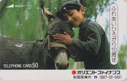 Télécarte Japon / 110-26838 F - ANIMAL - ANE & Enfant Du Maroc - DONKEY Japan Phonecard - ESEL -  BURRO - ASINO - 28 - Chevaux