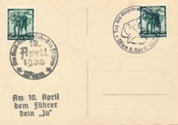 Deutsches Reich - 1938 - 2x Ein Volk Ein Reich Ein Führer On Postcard With Special Cancels Wien - Not Sent - Deutschland