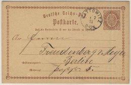 DR - Kattowitz 1874 K1 1/2 Gr. Brustschild Ganzsache N. Berlin - Deutschland