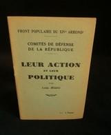 ( Juin 1936 Léon Blum Socialisme Paris XIV ) COMITES DE DEFENSE DE LA REPUBLIQUE Leur Action Leur Politique Louis JEGOU - Paris
