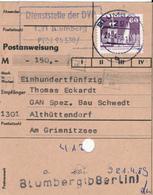 BLUMBERG / DDR  - 21.4.89 , Postanweisung - DDR