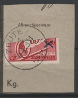 Belgique 1938 - CHEMINS De FER - Obl. - COB TR204 - Timbre Coupé En Deux Pour Colis Des Soldats - B - Spoorwegen