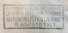 AUTOMOBILISMO CATANZARO AUTOMOBIL CLUB  3 GIRO INTERNAZIONALE AUTOMOBILISTICO DELLE CALABRIE 5 AGOSTO 1951  TARGHETTA - Automobilismo