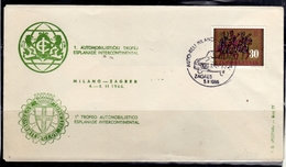 JUGOSLAVIA YUGOSLAVIA 4-5 11 1966 MILANO ZAGREB CARS RALLY ESPLANADE INTERCONTINENTAL COVER SPECIAL CANCEL - 1945-1992 Repubblica Socialista Federale Di Jugoslavia
