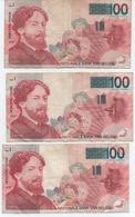 BELGIQUE  LOT DE 3 BILLETS DE   100   JAMES ENSOR      VOIR LES SCANS - [ 2] 1831-... : Regno Del Belgio