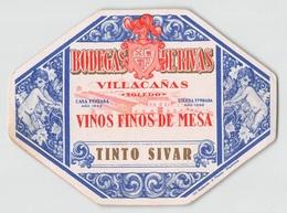 "D9256 "" BODEGAS DE RIVAS - VILLACANAS -  VINOS FINOS DE MESA - TINTO SIVAR - TOLEDO "".  ETICHETTA ORIGINALE. - Altri"