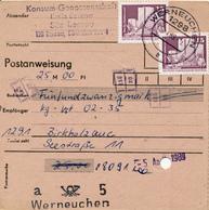 WERNEUCHEN / DDR  - 1989  ,  Postanweisung - DDR