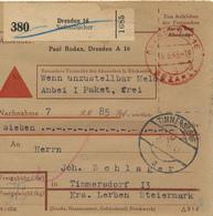 DRESDEN / Selbstbucher - 1943 , Gebühr Bezahlt  -  Nachnahme Nach Timmersdorf - Briefe U. Dokumente