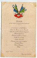 MENU DINER OFFERT PAR LE GROUP PARLEMENTARIE ITALIA FRANCIA GRAND HOTEL ROMA 28 APRILE ANNO 1904 - Menu
