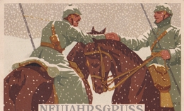 Künstlerkarte W.I. Neujahrsgruss - War 1914-18