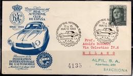 SPAIN ESPAÑA SPAGNA REAL AUTOMOVIL CLUB 11-15 5 1953 FIA MADRID COVER LETTERA SPECIAL CANCEL - 1931-50 Storia Postale