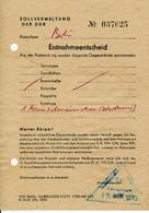 DDR - Entnahmeentscheid - 12.9.1972 , Entnahme Aus Einem Westpaket - Gesetze & Erlasse