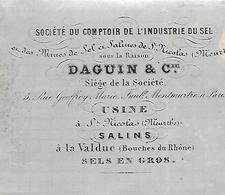Lettre 1865 / 54 Usine SAINT NICOLAS / 13 Salins LA VALDUC / Comptoir Industrie Du Sel DAGUIN & Cie - France