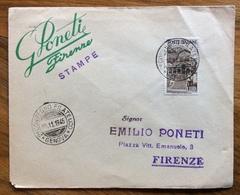 FILATELIA  2 CONVEGNO FILATELICO GENOVA  17/11/1946 ANNULLO SU L. 1 REPUBBLICHE MEDIOEVALI BUSTA VIAGGIATA  PER FIRENZE - Francobolli