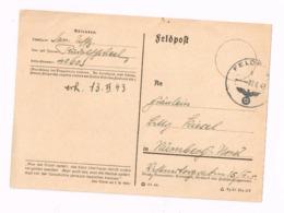 Feldpostkarte. Expédié à Nuremberg. - Briefe U. Dokumente