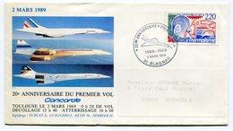 RC 12479 CONCORDE 1989 20e ANNIVERSAIRE DU 1er VOL BLAGNAC FFC LETTRE COVER - Concorde