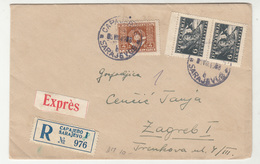Yugoslavia FNR Express Regsistered Letter Cover Travelled 1949 Sarajevo To Zagreb - Railway Pmk Beograd-Zagreb B190415 - Bosnien-Herzegowina