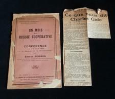 ( Economie Socialisme Coopératives ) UN MOIS EN RUSSIE COOPERATIVE Conférence D'Ernest POISSON 1922 - Economie