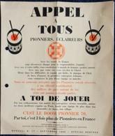 """Affichette SCOUTS De France - """" Appel à Tous - Pionniers, Éclaireurs """" - Septembre 1966 . - Culture"""