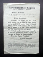 Volantino PNF Modena Fascio Femminile Dono Fede Nuziale Anello Regina Elena 1935 - Ohne Zuordnung