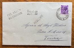 MOTONAVE POSTALE ITALIOANA AFRICA  Su TURRITA L. 25 + PAQUEBOT + COL LLOID DA TRIESTE  27/5/1955  ADUNATA  FIL. TRIVETA - Francobolli