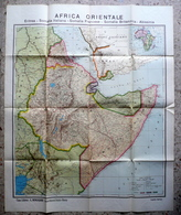 Africa Orientale Grande Carta Geografica Mondadori Materiale Didattico Anni '30 - Altri