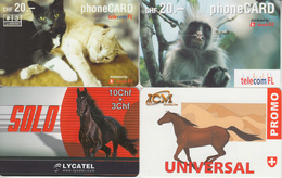 SWITZERLAND - PHONE CARD - TAXCARD SUISSE ***   PRÉPAID  - 4 X ANIMAUX / 1  *** - Chats