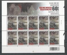 Belgique: 3329/ 3331 ** En Feuillets De 10 ( Remember Bastogne - 60 Ans De La Bataille Des Ardennes) - Blocs 1962-....