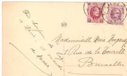 CPA - BELGIQUE - LIEGE -Visite De Leurs Altesses - 1928 - TIMBRE COB 197 + 246 - 1915-1920 Albert I
