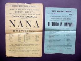 Due Locandine Teatro Municipale Di Modena Nanà Zola Il Marito Di Campagna 1882 - Old Paper