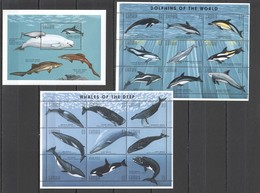 O994 GAMBIA MARINE LIFE WHALES & DOLPHINS !!! 2KB+1BL MNH - Baleines