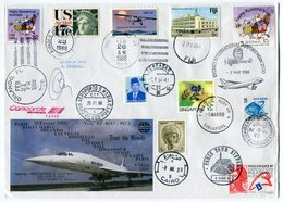 RC 12483 CONCORDE 1988 GRANDE ENVELOPPE TOUR DU MONDE FFC LETTRE COVER - Concorde