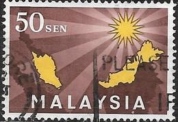 MALAYSIA 1963 Inauguration Of Federation - 50c - Yellow And Brown  FU - Gran Bretaña (antiguas Colonias Y Protectorados)