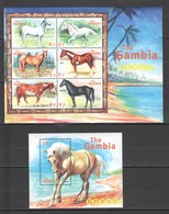 O1001 GAMBIA ANIMALS HORSES 1KB+1BL MNH - Chevaux