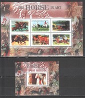 O1002 GAMBIA FAUNA FARM ANIMALS THE HORSE IN ART 1KB+1BL MNH - Chevaux