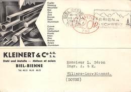 SUISSE - BIEL - BIENNE - Lettre De Correspondance Commerciale KLEINERT & C° Stahi Und Metalle- Métaux Et Aciers.1939 - BE Berne