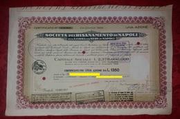 Azione Napoli Società Risanamento Certificato Azionario 1952 Da UNA Azione Lire 1350 Azioni E Titoli - Industrie