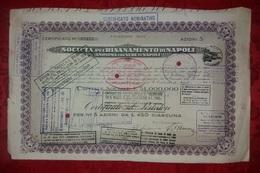 Azioni Napoli Società Risanamento Certificato Azionario 1935 Da 5 Azioni Da Lire 450 Azioni E Titoli - Industrie