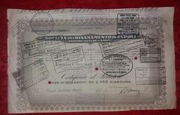Azioni Napoli Società Risanamento Certificato Azionario 1935 Da 100 Azioni Da Lire 450 Azioni E Titoli - Industrie