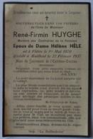 Flêtre - Bailleul: Image Mortuaire De HUYGHE René Firmin (X HELE Hélène Marie Thérèse) - Décès