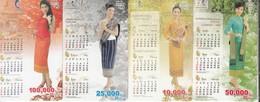 4 Laos Phonecard Ladys And Calendar Set - Laos
