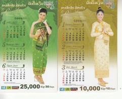 2 Laos Phonecard Ladys And Calendar Set - Laos