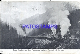 110703 CANADA TRAIN FOUR ENGINES DRIVING PASSENGER TO SUMMIT OF ROCKIES CIRCULATED TO HOLLAND POSTAL POSTCARD - Unclassified