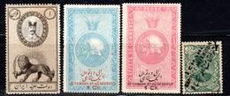 PERSE - 4 Timbres FISCAUX */(*) - Iran