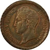 Monnaie, Monaco, Honore V, Decime, 1838, Monaco, TTB, Cuivre, Gadoury:MC 105 - Monaco