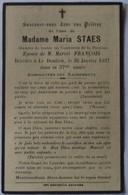 Bailleul - Le Doulieu: Image Mortuaire De STAES Maria Véronique (X FRANCOIS Marcel Henri) - Décès