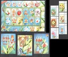O1009 GAMBIA PLANTS FLOWERS ORCHIDS 2001 HONG KONG 1SET+3BL+1SH MNH - Orchidées
