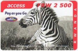 RWANDA A-002 Prepaid MTN - Animal,  Zebra - Used - Rwanda