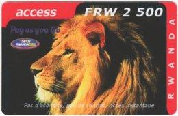 RWANDA A-003 Prepaid MTN - Animal, Cat, Lion - Used - Rwanda