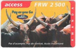 RWANDA A-005 Prepaid MTN - Animal, Cow - Used - Rwanda